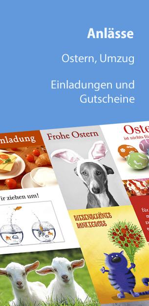 Postkarten für alle Anlässe von Ostern bis zum Umzug