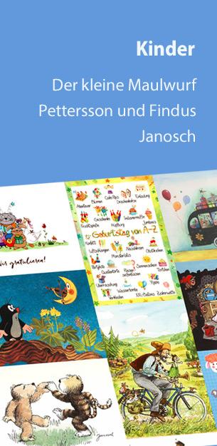 Schöne Kinder Postkarten | Der kleine Maulwurf, Pettersson und Findus, Janosch