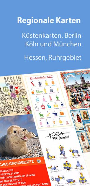 Regionale Postkarten von Hamburg, Berlin über Köln bis nach München
