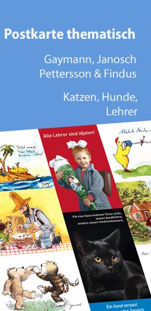Postkarte thematisch - Gaymann, Janosch, Pettersson, Lehrer, Katzen, Hunde